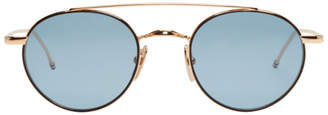 Thom Browne Gold and Blue TB-101 Sunglasses