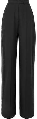 Antonio Berardi Niko Silk Georgette-trimmed Wool Wide-leg Pants - Black