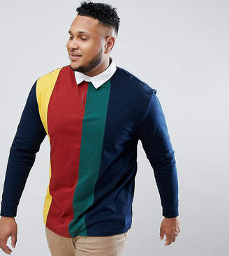 Asos Design Plus Relaxed Rugby Polo Shirt With Vertical Colour Block In Navy