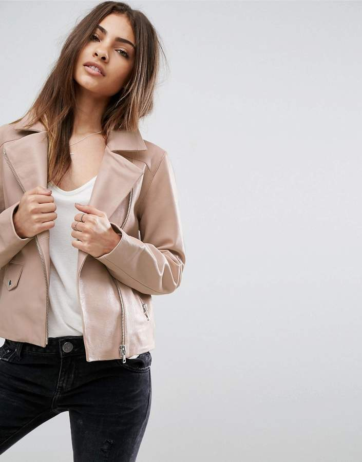 Asos ASOS Soft Pink Leather Biker Jacket