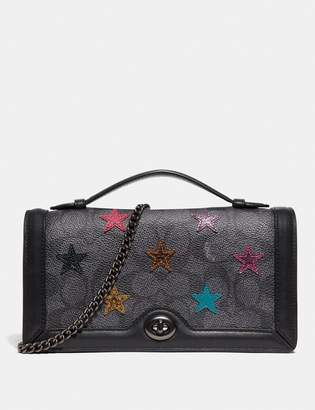 Coach Riley Chain Clutch In Signature Canvas With Star Applique And Snakeskin Detail