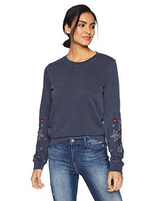 Lucky Brand Women's Embroidered Sleeve Flowers Pullover Sweatshirt