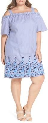 London Times Embroidered Hem Stripe Off the Shoulder Shift Dress