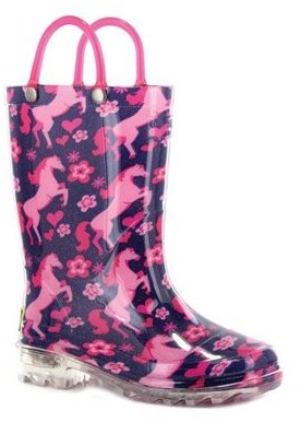 Western Chief Girls' Glitter Horse Lighted Rain Boot