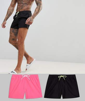 Asos DESIGN Swim Shorts In Black & Neon Pink Short Length 2 Pack SAVE