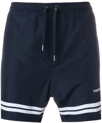 Neil Barrett stripe hem swim shorts