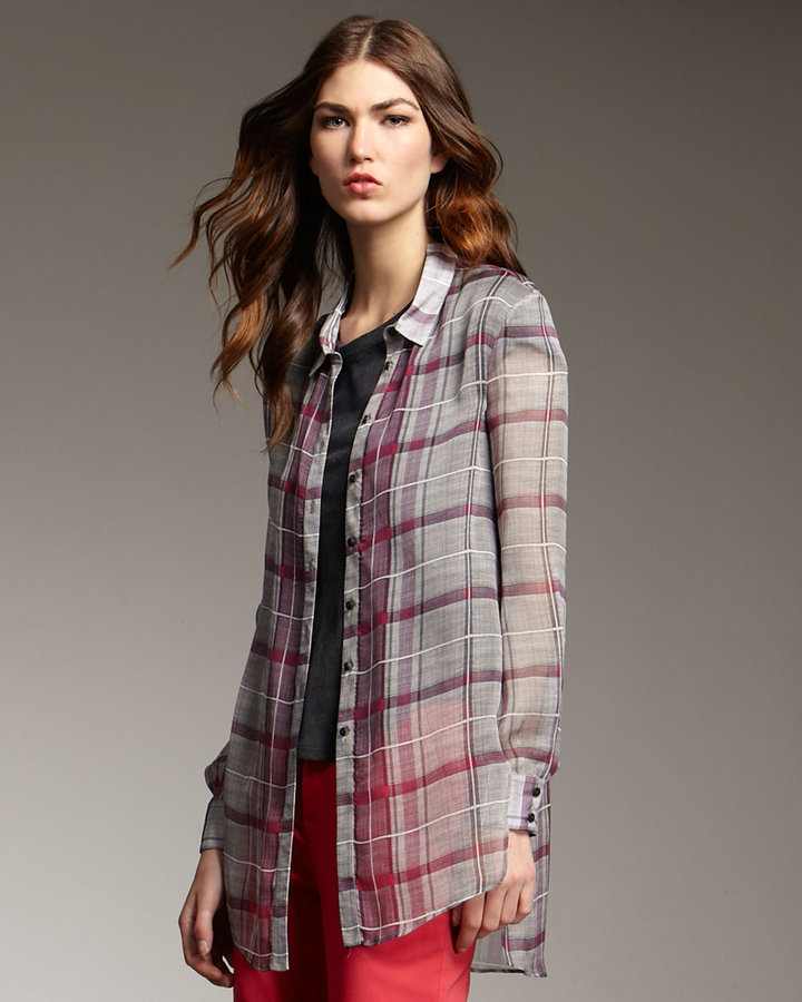 Theyskens' Theory Sheer Silk Plaid Button-Front Shirt