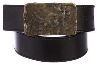 Gucci Brass-Tone Leather Belt
