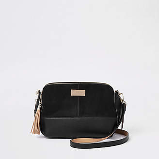 River Island Black triple compartment large cross body bag