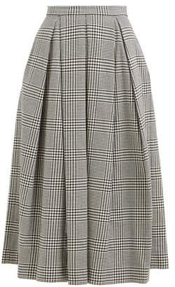 Erdem Elena Checked Cotton Blend Midi Skirt - Womens - Black White