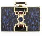 Judith Leiber Couture Ridged Rectangle Marble Resin Clutch