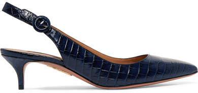 Aquazzura - Pure Croc-effect Leather Slingback Pumps - Navy