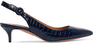 Aquazzura Pure Croc-effect Leather Slingback Pumps - Navy