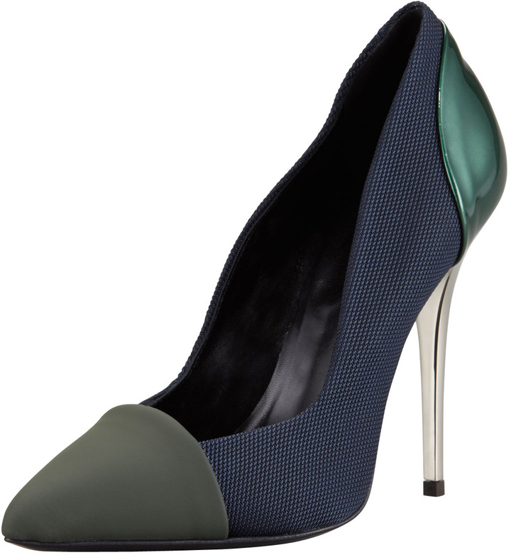 Proenza Schouler Single Sole Pointed Pump, Grey/Navy/Green