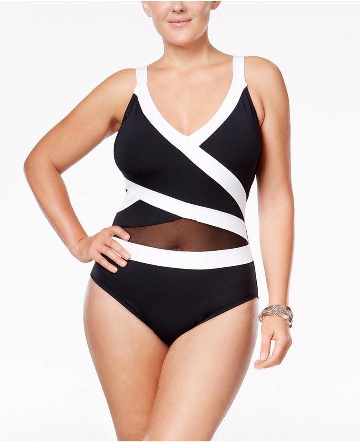 Anne ColeAnne Cole Plus Size Striped Halter One-Piece Swimsuit