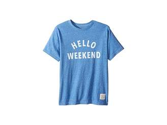 Original Retro Brand The Kids Hello Weekend White Print Short Sleeve Tee (Big Kids)