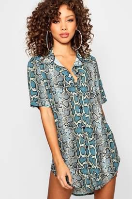 boohoo Snake Print Woven Dip Hem Mini Shirt Dress