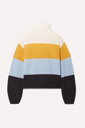 Veronica Beard Faber Oversized Striped Cashmere Turtleneck Sweater - Saffron
