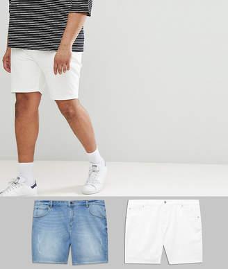 Asos DESIGN Plus Denim Shorts In Skinny White & Light Wash With Abrasions