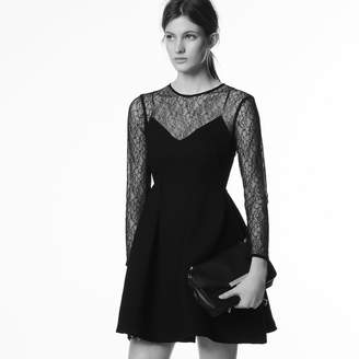 Sandro Honeycomb fabric and lace dress