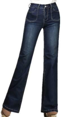 Cresay Womens High Waist Bootcut Baggy Leg Jeans Wide Leg Pants-darkblue-32
