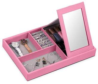 NEX Pink Jewelry Box, Jewelry Display Storage, Make up Storage Box, Mirror Stand, PU Leather, Ring Tray, Earring Slots, Excellent for Desk Jewelry Storage, Travel (LT-A025)