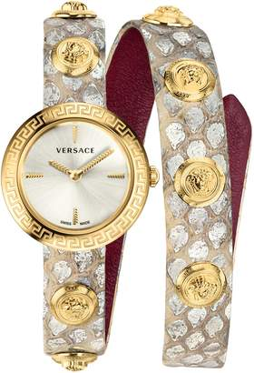 Versace Medusa Stud Icon Leather Strap Watch, 28mm
