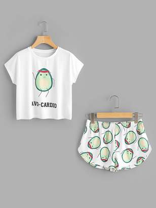 Shein Cartoon Avocado Print Tee And Shorts Set