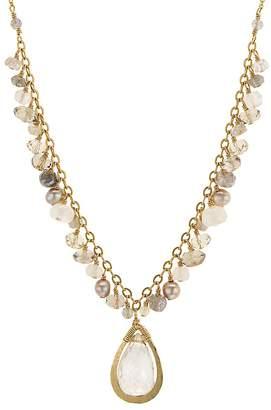"Dana Kellin Briolette Stone & Organic Freshwater Pearl Necklace, 17.5"""