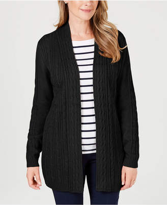 Karen Scott Cable-Knit Open-Front Cardigan, Created for Macy's