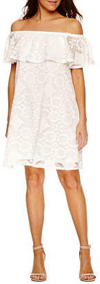 Tiana B Short Sleeve A-Line Dress-Petite