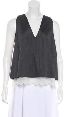 Hache V- Neck Lace Panel Top w/ Tags
