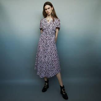 Maje Long printed silk dress