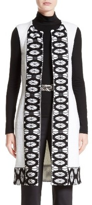 Women's St. John Collection Sara Lace Trim Long Vest $2,295 thestylecure.com