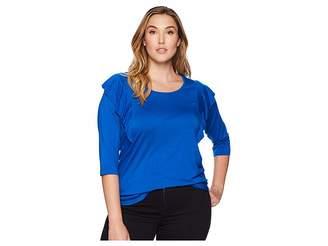 Karen Kane Plus Plus Size 3/4 Sleeve Ruffle Top Women's Clothing