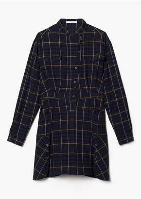 Derek Lam 10 Crosby Long Sleeve Wool Plaid Mandarin Collar Shirt Dress