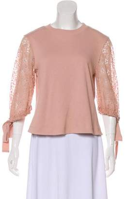 See by Chloe Lace-Trimmed Crew Neck Top