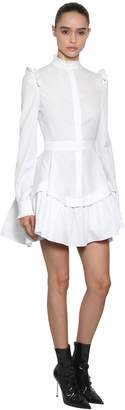 Alexander McQueen Ruffled Cotton Piqué Mini Dress