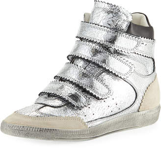 Isabel Marant Bilsy Crackled Multi-Strap Sneakers