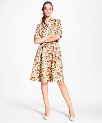 Brooks Brothers Cherry-Print Cotton Sateen Shirt Dress