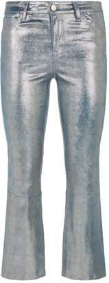 J Brand Selena Metallic Leather Bootcut Jeans