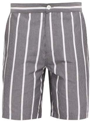 P. Le Moult - Striped Cotton Shorts - Mens - Black