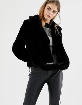 Pull&Bear Plain Fur Jacket With Collar