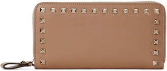 Valentino Garavani Camel Rose Rockstud Leather Zip-Around Clutch