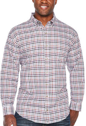 Van Heusen Long Sleeve Grid Button-Front Shirt-Big and Tall