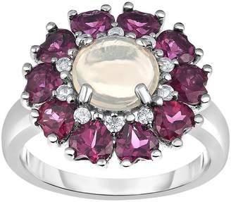 Sterling 4.50 cttw Ethiopian Opal & Rhodolite Halo Ring