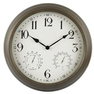 """Backyard Expressions 16"""" Metal Weather Monitoring Indoor/Outdoor Clock - Bronze"""