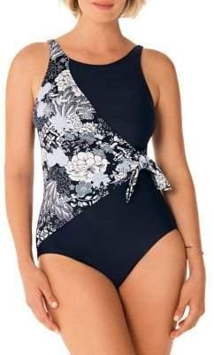 Penbrooke Side Draped One-Piece Swimsuit