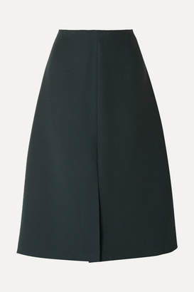 The Row Bea Wool And Silk-blend Cady Midi Skirt - Dark green