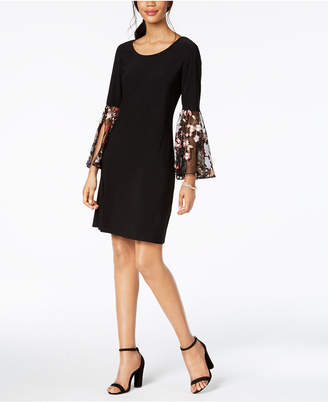 MSK Embroidered Bell-Sleeve Dress